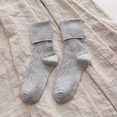 Fashionable Solid Color Loose Socks 4pcs - LIGHT GRAY