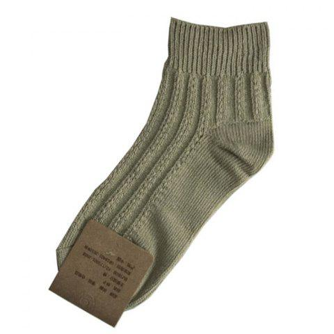 Solid Color Hollow Retro Thick Cotton Women's Socks 2pcs - DARK GREEN