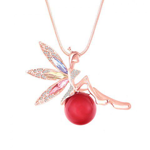 MY - 0017 Angel Girl Pearl Sweater Chain Long Necklace - RED