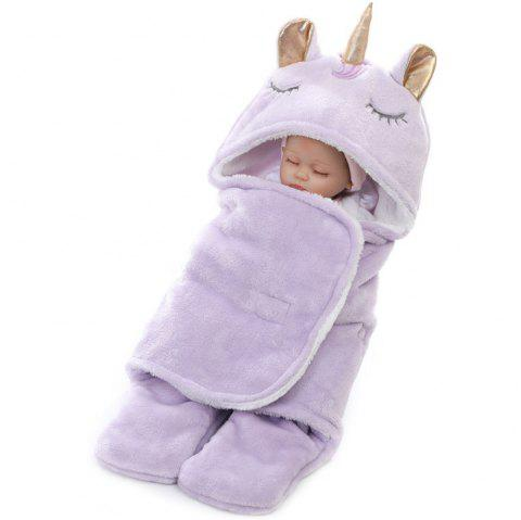 Winter Double Flannel Unicorn Baby Thick Warm Blanket - MAUVE