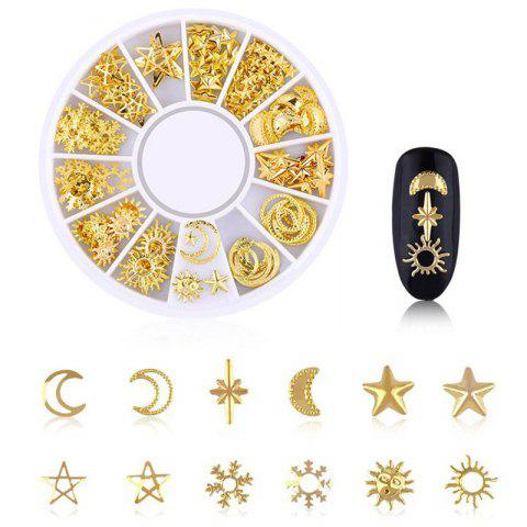 Star Rivet Japanese Hollow Alloy Nail Decoration Jewelry 200PCS - GOLD XY - 04