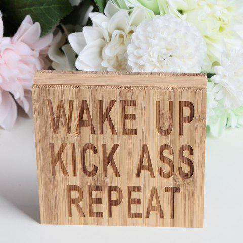 JM00302 Bamboo Products Home WAKE UP KICK ASS REPEAT Plate Decoration - BURLYWOOD