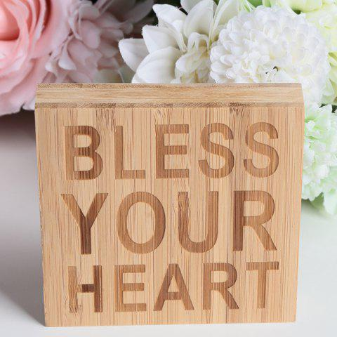 JM00299 Bamboo Products BLESS YOUR HEART Plate Decoration - BURLYWOOD