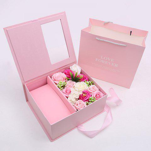 Romantic Valentine's Day Soap Flower Gift Box - PIG PINK 25*21.5*11CM