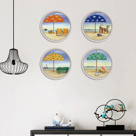 1554 Personality YM Series Decorative Wall Sticker 4pcs - multicolor