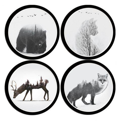 1565 Personality Animal Artificial 3D Wall Sticker 4PCS - multicolor