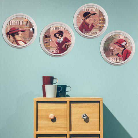 1556 Personality YM Series Decorative Wall Sticker 4pcs - multicolor