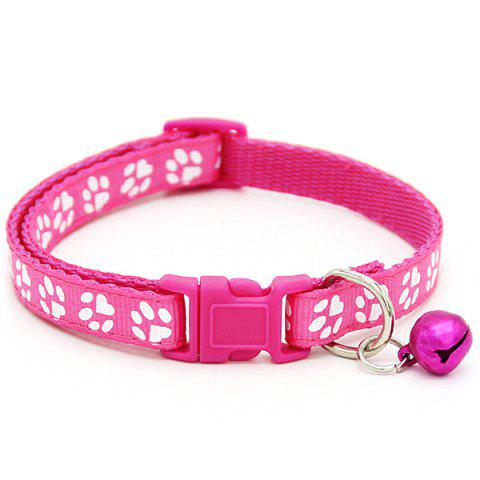 Patch Design Bell Pet Collar - ROSE RED