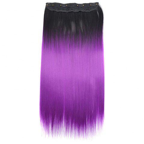 One-piece Gradient Color Long Straight Wig Hair Extension Piece - BRIGHT NEON PINK