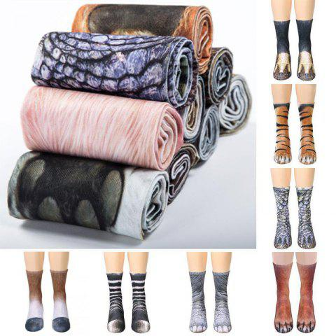 Fashion 3D Printed Animal Foot Socks 3 Pairs - multicolor C