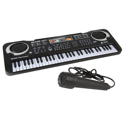 Children's Electronic Piano With Microphone Multi-function 61-key Music Toy - BLACK EU PLUG