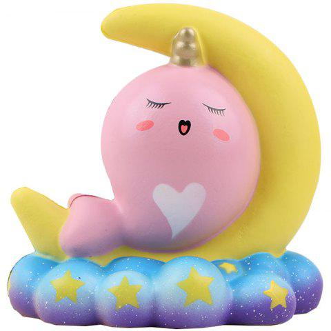 PU Slow Rebound Moon Whale Squishy Toy - PINK