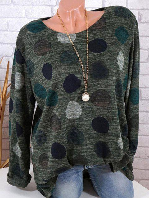 Women Fashion Long Sleeve Polka Dot Round Neck Loose T-shirt - ARMY GREEN M