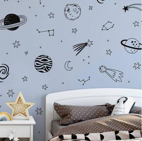 Xd214 Space Planet DIY Combination Wall Stickers - BLACK