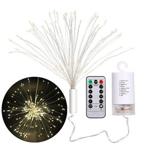 8 Function with Remote Control LED Explosion Star Lamp 20cm Fireworks Lights - WARM WHITE