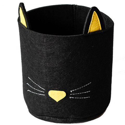 Felt Cloth Embroidery Cartoon Shape Storage Basket - BLACK