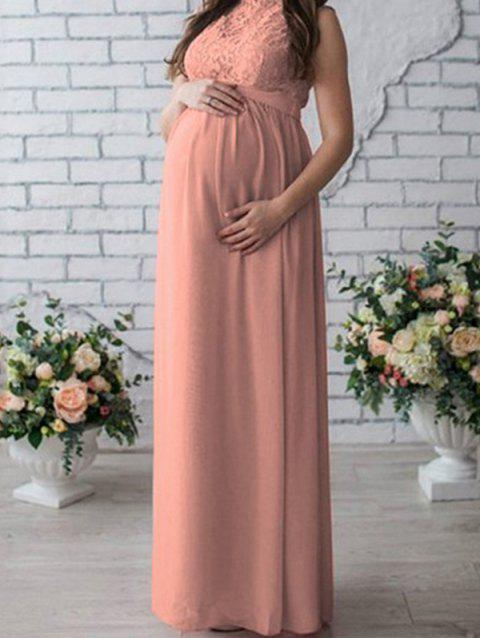 17 - W19828 - I24.3.33 Lace Stitching Maternity Dress - PINK L
