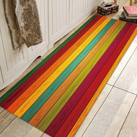 Printed Colorful Wood Pattern Anti-slip Floor Mat for Living Room Bathroom Kitchen - multicolor W24 X L71 INCH