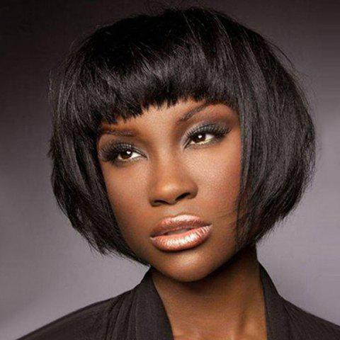 Ladies Fashion Realistic Natural Bangs Short Straight Hair Wig - BLACK