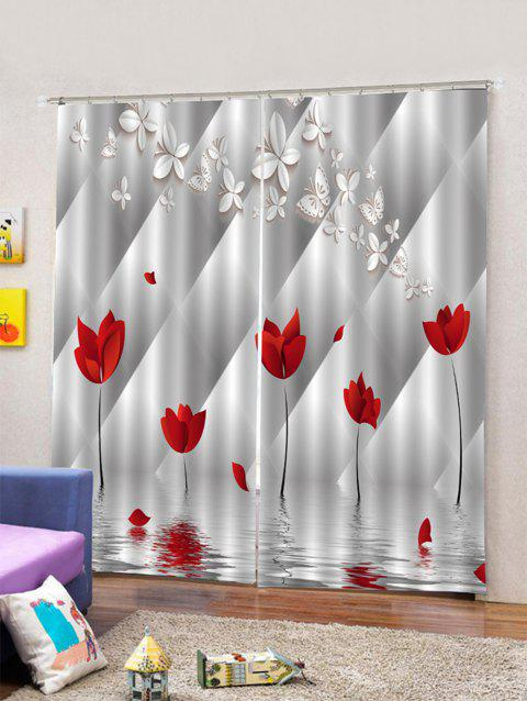 2PCS Butterfly Flower Pattern Window Curtains - multicolor W33.5 X L79 INCH X 2PCS