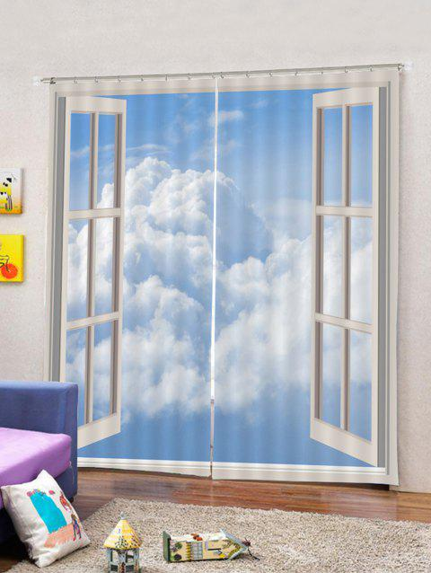 2PCS Window Sky Pattern Window Curtains - multicolor W33.5 X L79 INCH X 2PCS