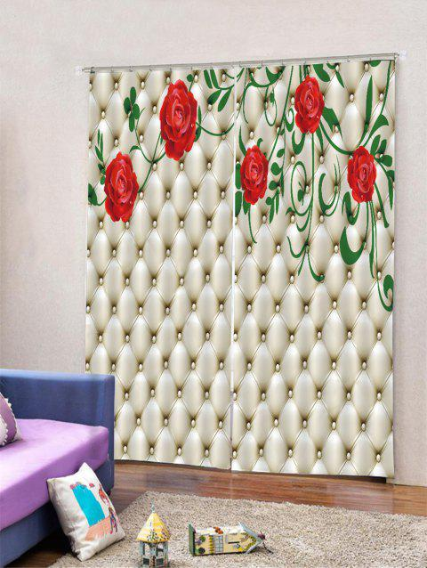 2PCS Flower Print Window Curtains - multicolor W30 X L65 INCH X 2PCS