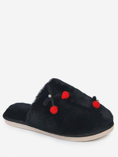 6bed362913b 2019 Bowknot Decorative Fuzzy Slippers In BLACK EU 40