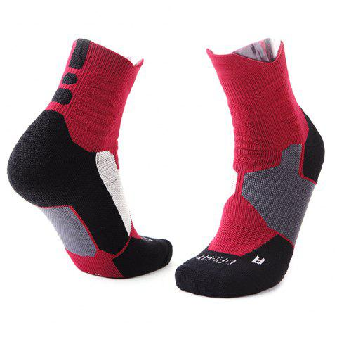 Thick Sweat-absorbent Towel Men Sports Socks - RED WINE