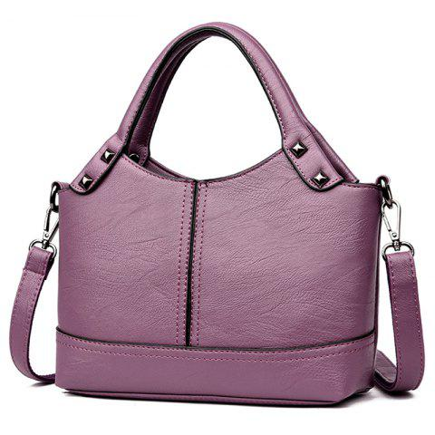 Shengtong3007 Casual Fashion Solid Color Handbag Trend Youth Comfortable Ladies Shoulder Bag - LILAC