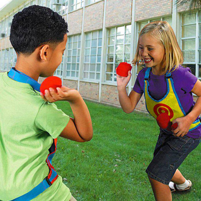Sticky Ball Target Vest Loop-and-hook Design Kindergarten Throwing Game Props Toy - multicolor A