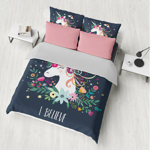T30 3D Digital Printing Bedding Set 3pcs - JET BLACK KING