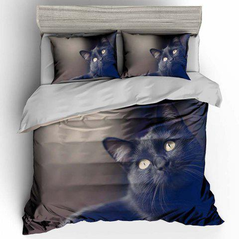 T39 Black Cat 3D Digital Printing Bedding Set 3pcs - GRAPHITE BLACK QUEEN