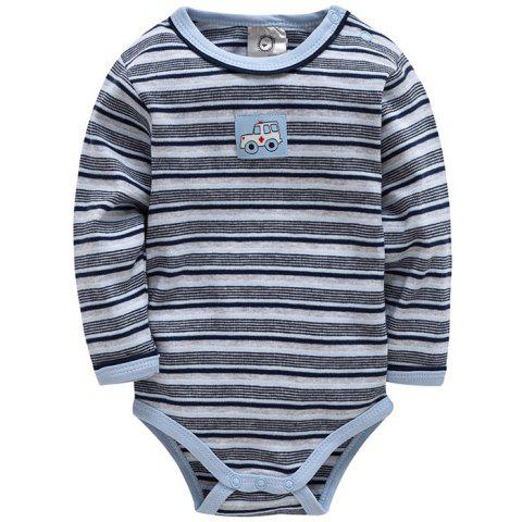 THY2007 Cotton Striped Long-sleeved Baby Jumpsuit - BLUE GRAY 62/68