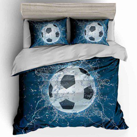 T23 3D Digital Printing Three-piece Water Football Quilt Cover Pillowcase - multicolor A FULL