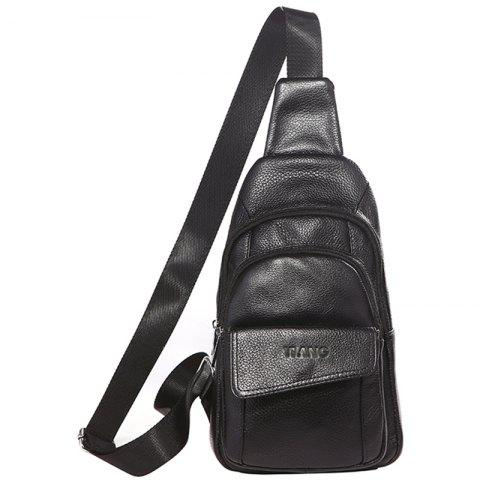 YIANG X5 Men's Leather Large-capacity Multi-layer Chest Bag - BLACK