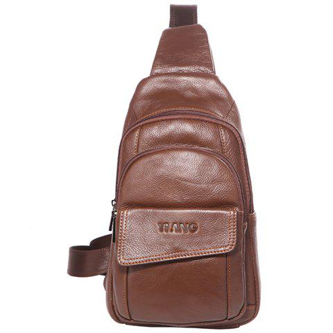 YIANG X5 Men's Leather Large-capacity Multi-layer Chest Bag - CHESTNUT