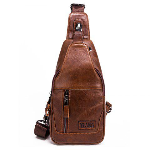YIANG 86055 Men's Leather Multi-function Chest Bag - DEEP BROWN