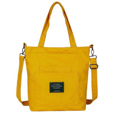 Canvas Joker Casual Shoulder Crossbody Tote Bag - YELLOW