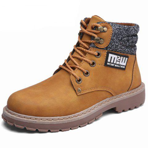 Leather Boots British Tooling Retro Tide Shoes - CAMEL BROWN EU 44