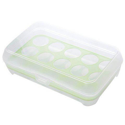 15 Grid Anti-collision Refrigerator Egg Storage Box - GREEN