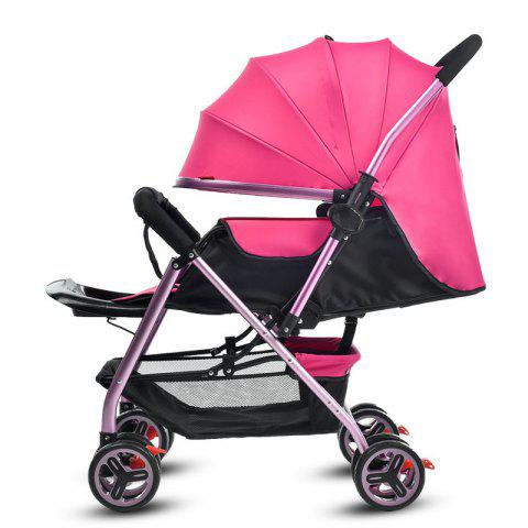 Zhierle Foldable Two-way Push Stroller for Baby - HOT PINK