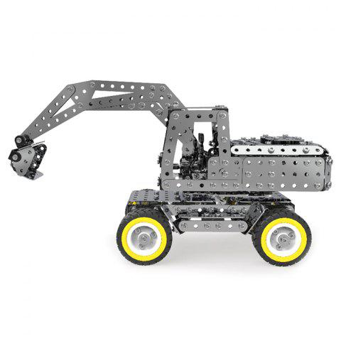 sw - 031 DIY Stainless Steel Drive Excavator Assembling Building Blocks Toys - SILVER