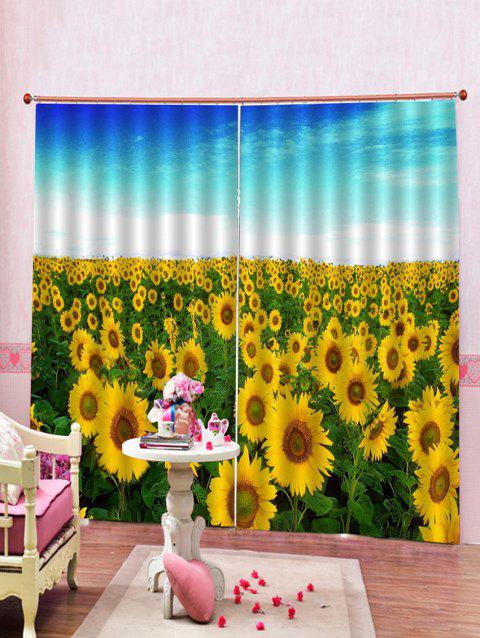 2PCS Sunflower Print Window Curtains - multicolor W30 X L65 INCH X 2PCS