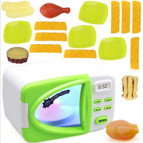 Children's Simulation Microwave Oven House Kitchen Toy Set - YELLOW GREEN
