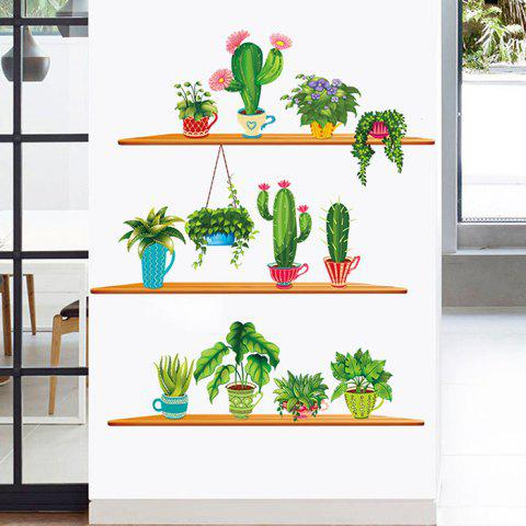 Cactus Potted Plant PVC Wall Sticker - SEA TURTLE GREEN