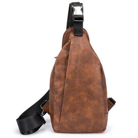Vintage PU Leather Trend Fashion Chest Bag - BROWN