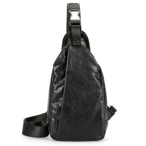 Vintage PU Leather Trend Fashion Chest Bag - BLACK