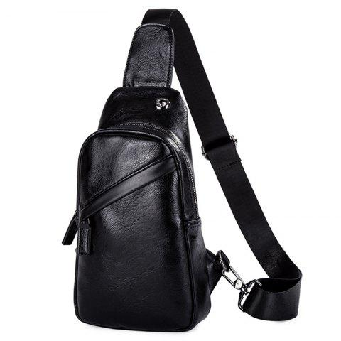 Fashion Men's Casual PU Leather Chest Bag - BLACK