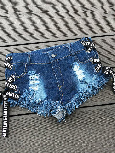Women High Waist Hole Sexy Summer Denim Shorts - DENIM DARK BLUE M