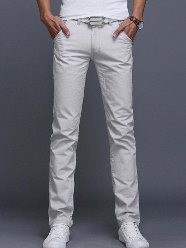 Men'S Casual Pants Straight Slim - CRYSTAL CREAM S(31)